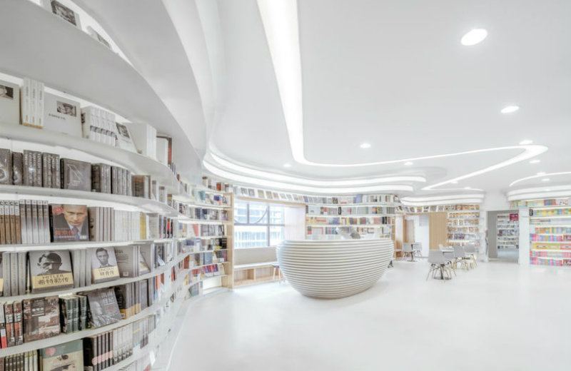 Minimalist Bookstore A Minimalist Bookstore In China Lets Books Add The Colour feat 2
